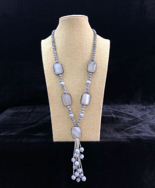Cloudy Spherules in Dazzling Silver Chain Tassel Necklace
