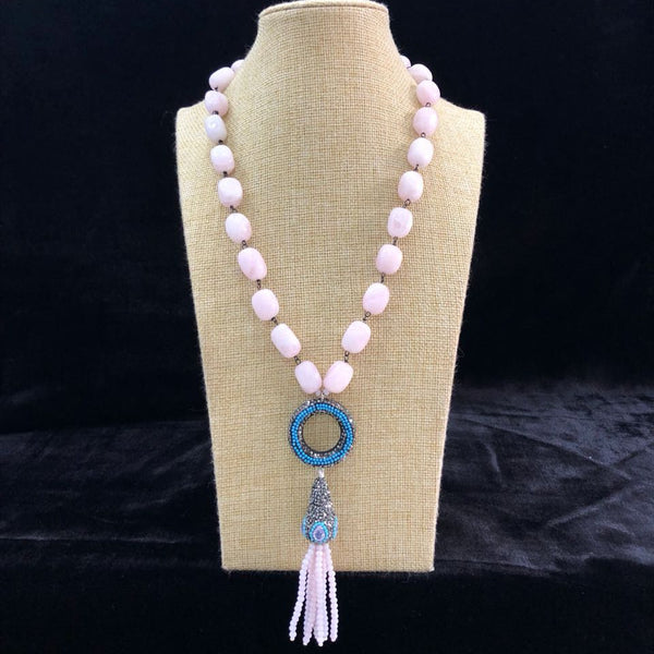 Blushing Pink in Pendant Tassel Necklace