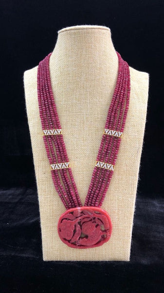 Red Berry Bonds in Crystalline Sashes Necklace