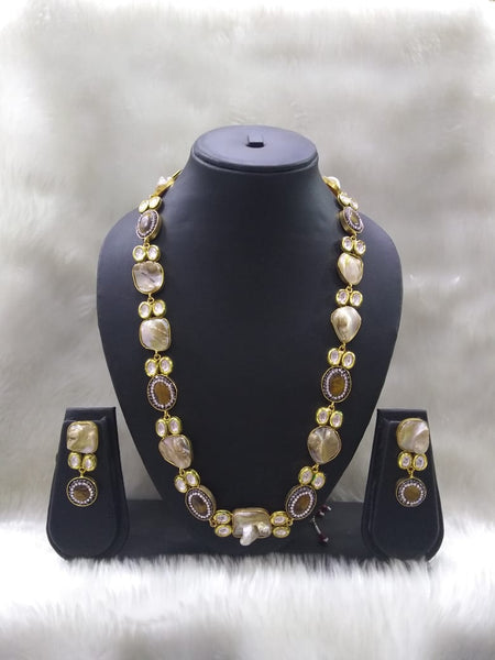 Coffee Brown Royal Grey MOP and Kundan Necklace Set