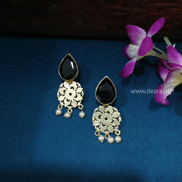 Black Gold Gemstone Dangler Earrings