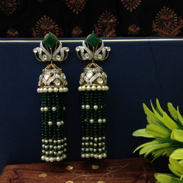 Elegant Emerald Green Crystal And Kundan Long Earrings