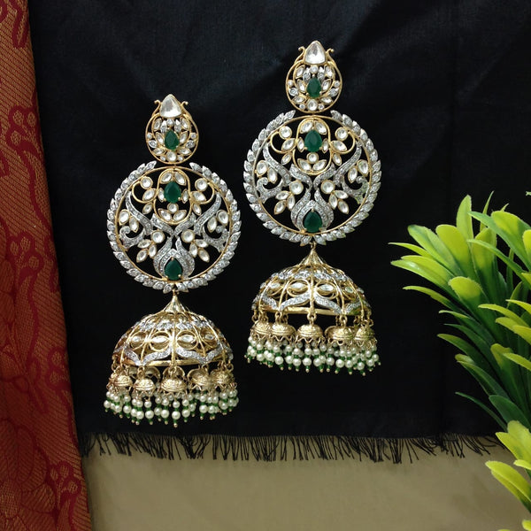 Emerald Green Kundan Crystal Long Jhumka Earrings