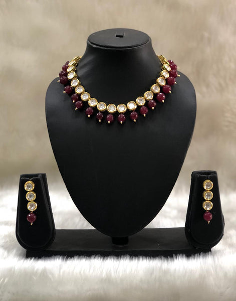 Fabulous Ruby Red and Kundan Choker Necklace Set