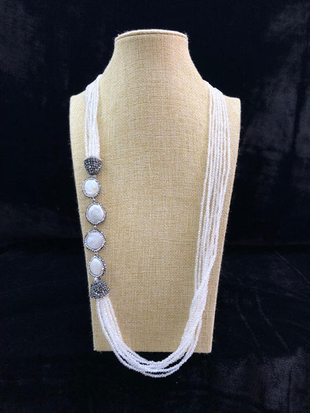 Periwinkle Bluish White & Pearls Necklace