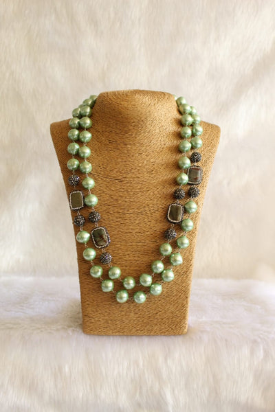 Gorgeous Green Pearls and Gemstone Beads Necklace