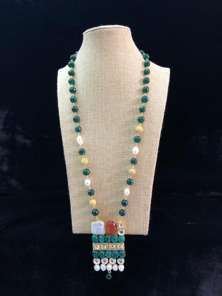Forest Green Gemstones with Pearl and Kundan Necklace