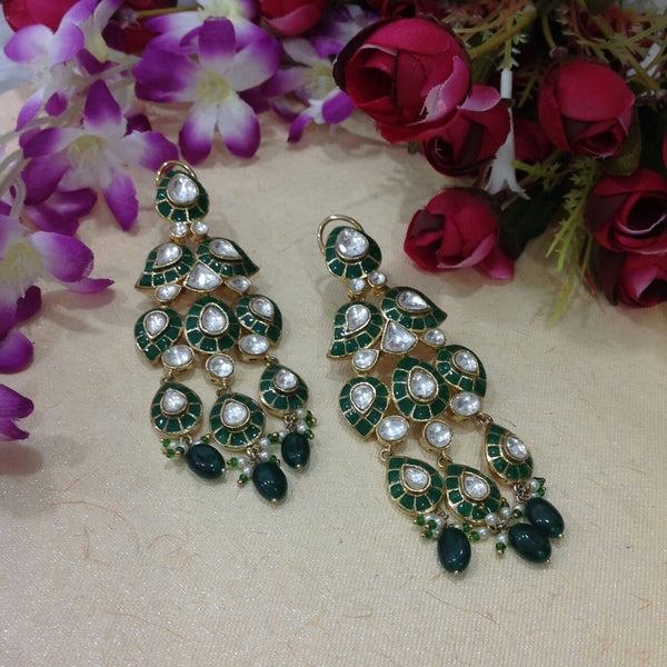 Glamorous Green Long Jhumka Long Earrings