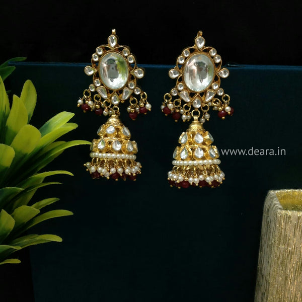 Splendid Kundan Golden Red Jhumka Long Earrings