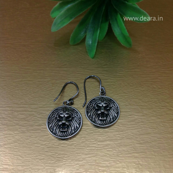 Silver Lion Drop Earrings