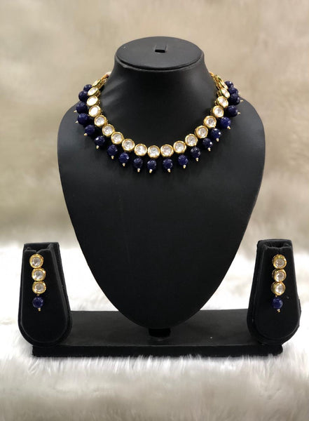 Fabulous Royal Blue Kundan Choker Necklace Set