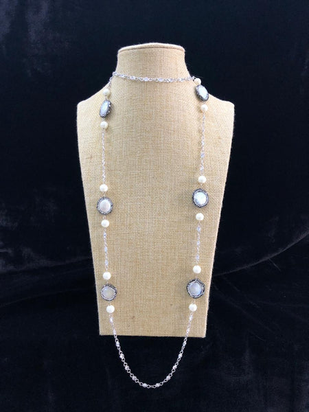 Alluring Pearls in Silver Chain Necklace