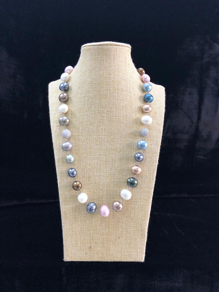 Multi Coloured Oval Shell Pearls Necklace
