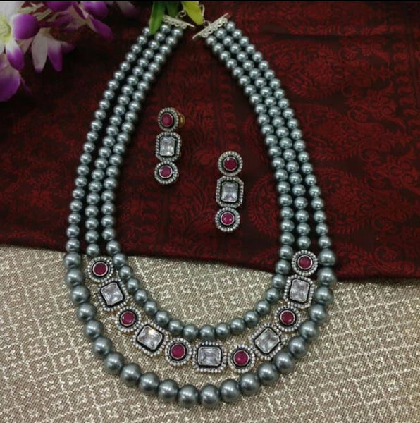 Three Stranded Silver Pearls With Ruby Red Gemstones Necklace Set