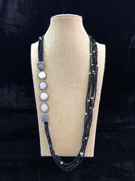 Bold And Beautiful Black Beaded & Pearls Necklace