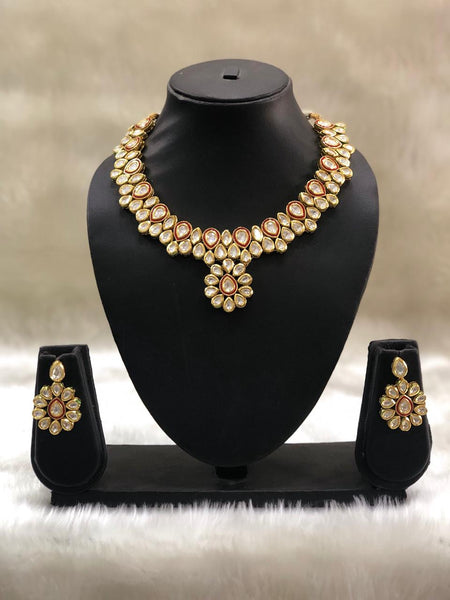 Elegant Red Enamel Kundan Choker Necklace Set