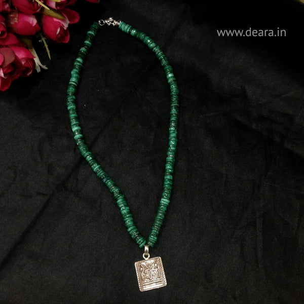 Green Malachite Semi Precious With Silver Pendant Necklace