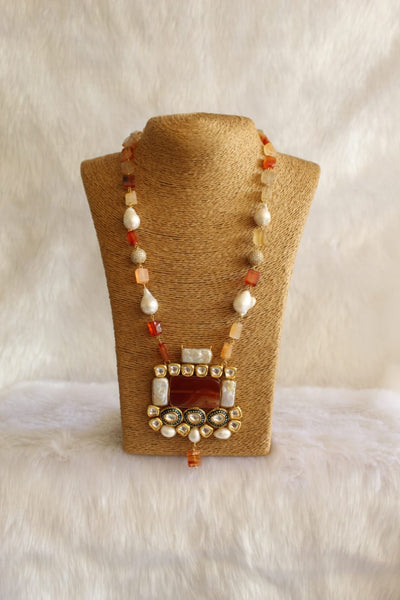 Magnificent Red and Salmon with Baroque Pearl Kundan Necklace