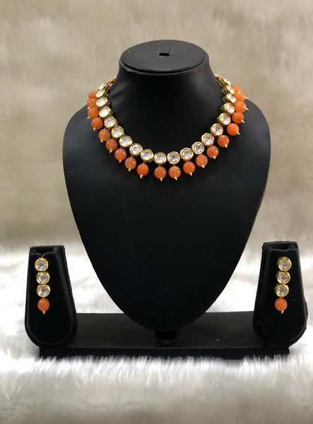Fabulous Orange Kundan Choker Necklace Set