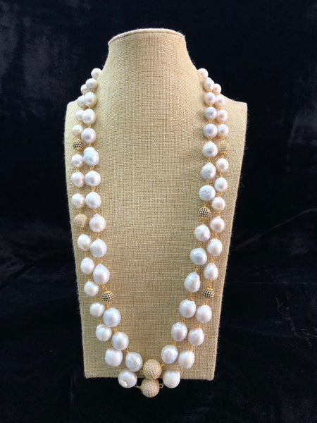 Two Stranded Glorious Pearls Necklace