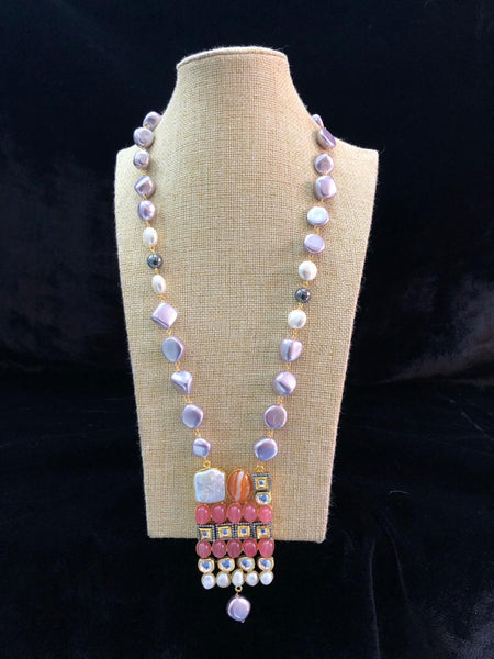 Marvellous Mauve Pearls with Pink Gemstone Necklace