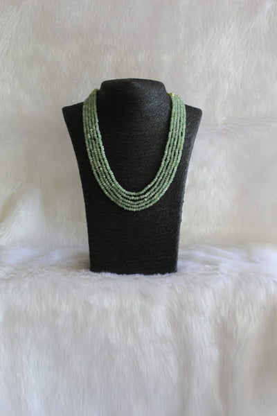 Multi-Stranded Pear Green Quartz Beads Necklace