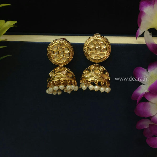 Golden Touch of Enamel Kundan and Pearls Jhumka Earrings