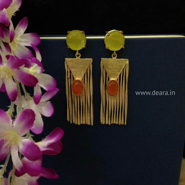 Charming Lime and Orange Dressy Long Earrings