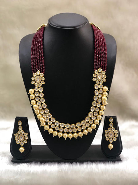 Ethnic Five Stranded Ruby Red Kundan Necklace Set