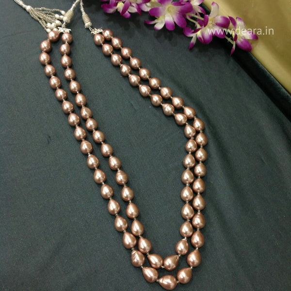 Magnificant 2 Stranded Mauve Pearl Necklace