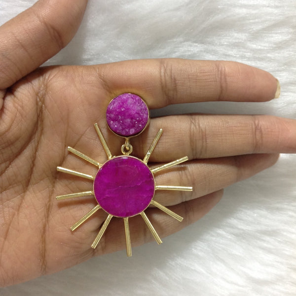 Pleasing Pink Sun Earrings