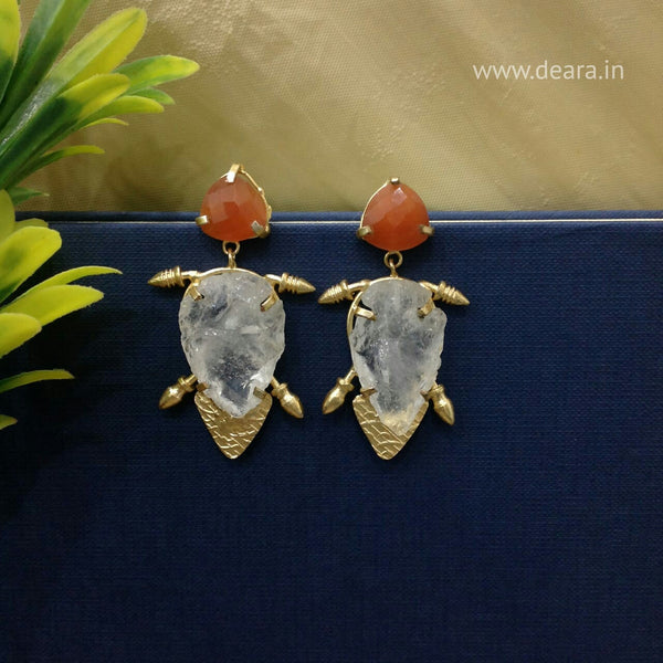 Orange Gemstones Long Earrings!