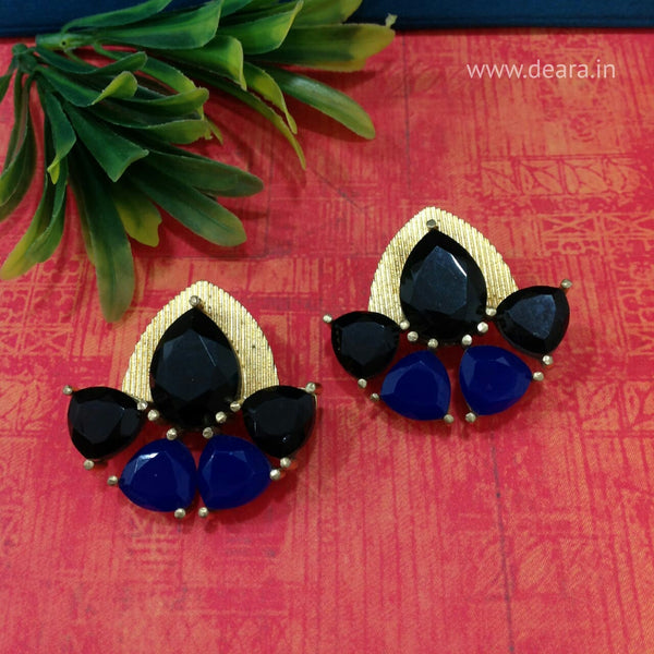 Black and Blue Stone Stud Gold Earrings