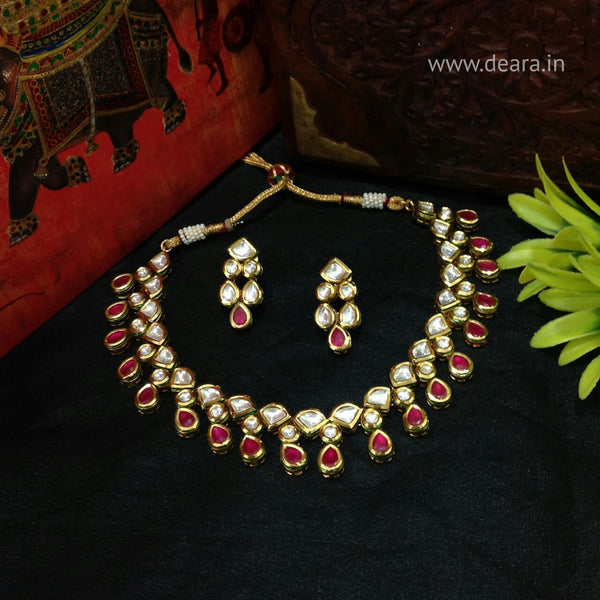 Splendid Ruby Red Kundan Choker Necklace Set