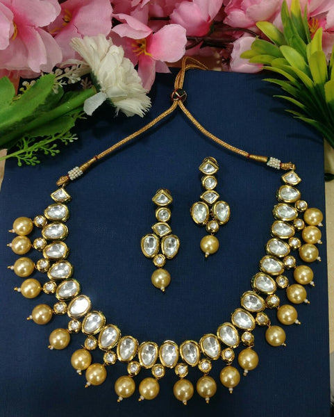 Royal Golden Shell Pearls With Kundan Choker Necklace Set
