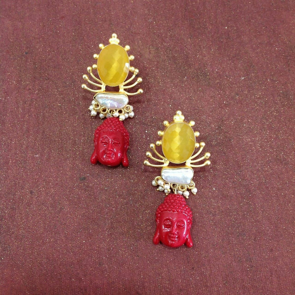 Enlightening Buddha With Citrine and Pearl Long Earrings