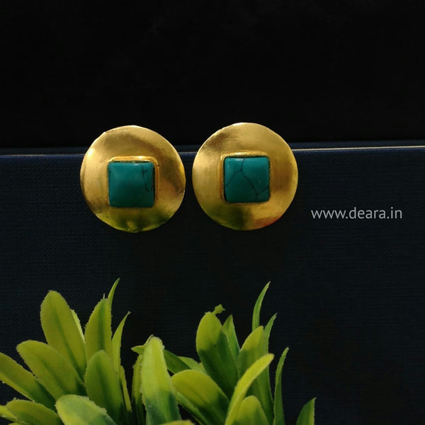 Real Turquoise Gold tone Earrings