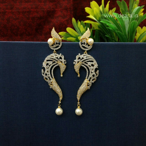 Serpent Charm Two-Toned Long Earrings