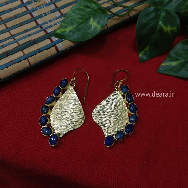 Blue Lapis Golden Shell Earrings