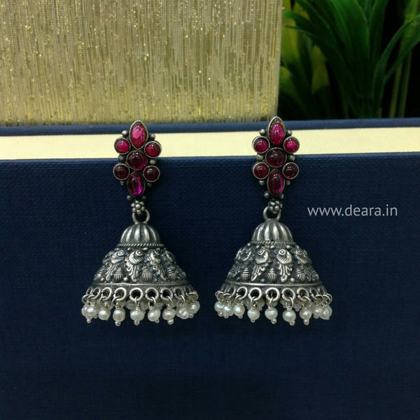 Pleasing Star Silver Jhumka Earrings