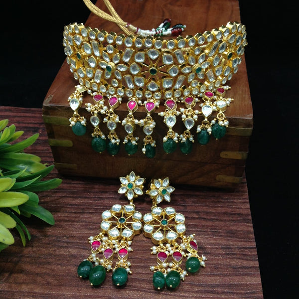 Sensational Rich Kundan And Gemstones Choker Necklace Set