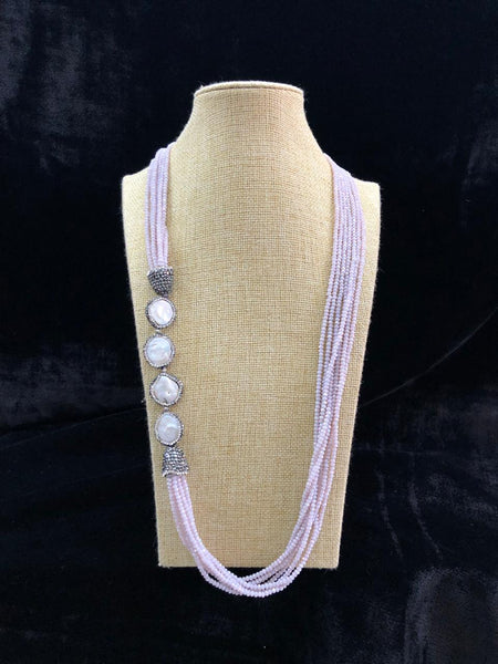 Radiant Mauve & Pearls Necklace