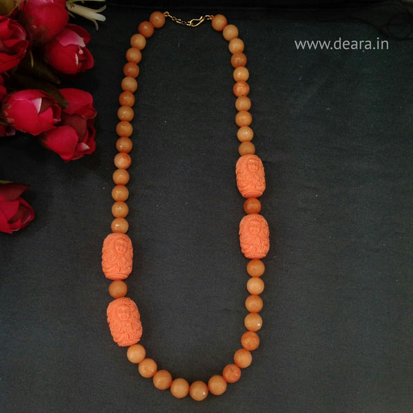 Precious Peach Gemstones With Coral Beads Necklace