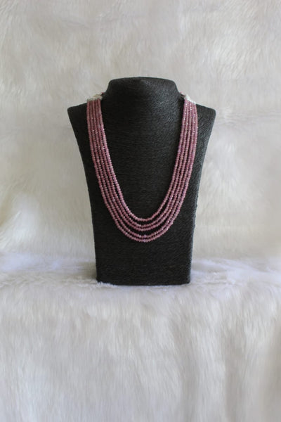 Multi-Stranded Mulberry Quartz Beads Necklace