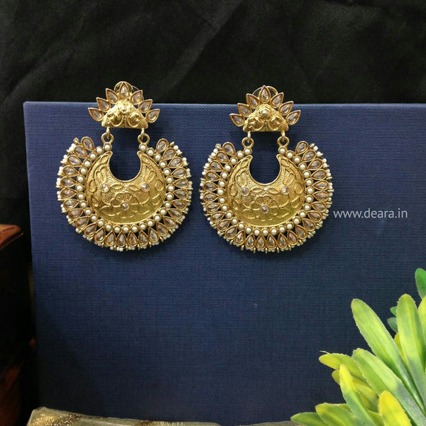 Golden Brass Long Chandbali Earrings