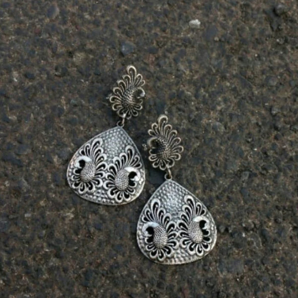 Twin Peacock Long Silver Earrings