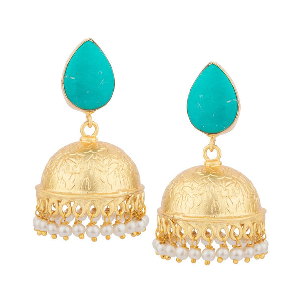 Turquoise Jhumkas Earrings