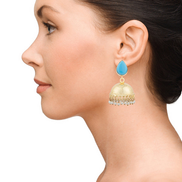 Blue Gold Turquoise Jhumka Earrings