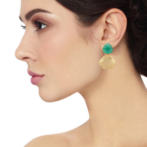 Green Gold Hexagone Earrings