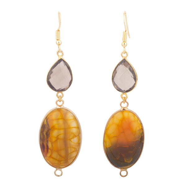 Smoky Brown and Yellow Agate Earrings